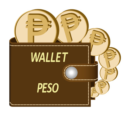 brown  wallet with peso coins on a white background , currency in the wallet,sign and symbol currency in the form of coins,design concept color , words wallet peso on the face of the wallet Illustration