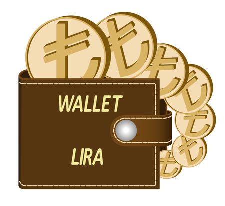 Brown wallet with Lira coins on a white background, currency in the wallet, sign and symbol currency in the form of coins, design concept color, words Wallet Lari on the face of the wallet Çizim