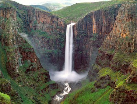 レソトの滝 写真素材