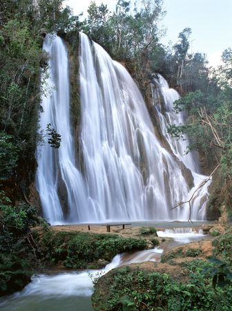 Beautifull waterfalls and stream in park Dominican Republic 版權商用圖片