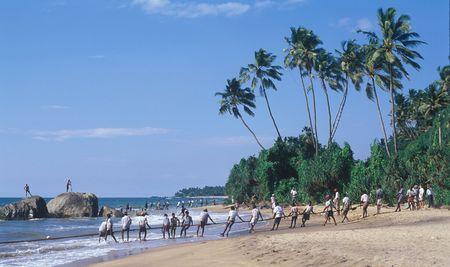 スリランカ海岸でネットでの釣り 写真素材