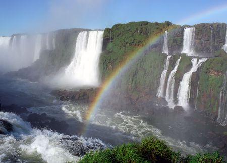 世界有名なイグアスの基板上に滝のアルゼンチンとブラジルのボーダー