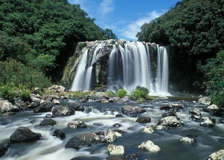 Panoramic view on beautiful waterfall in Reunion Island photo