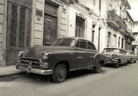 Old American cars in Havana Cuba photo