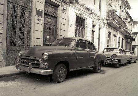 Old American cars in Havana Cuba 版權商用圖片