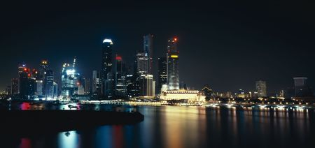 reflaction: Panoramic view on singapore city in the night
