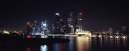 Panoramic view on Singapore downtown night lights photo