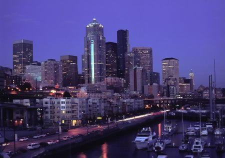 Panoramic view on Seattle downtown with night lights photo