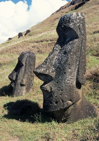 megalith: Old stone sculpture in famous Easter island