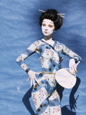 Bodypainted girl in japanese geisha style Stock Photo - 4137178