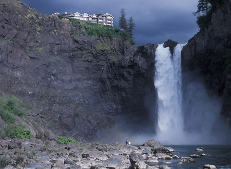 washington state: USA Washington State, Snoqualmie Falls, attraction east of Seattle Stock Photo