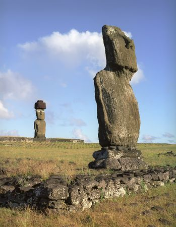 moai: Moais of Ahu Akivi inland Ahu on the UNESCO World Heritage of Easter Island Chile