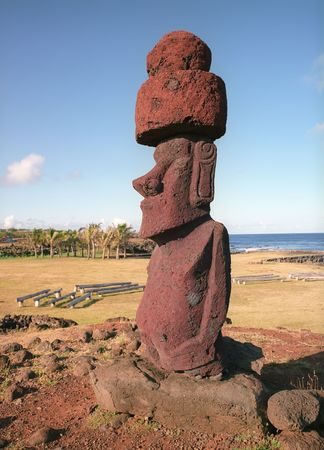 megalith: Moais of Ahu Akivi inland Ahu on the UNESCO World Heritage of Easter Island Chile