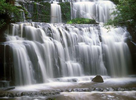 プラカウヌイ滝ニュージーランドの森の奥深くに 写真素材
