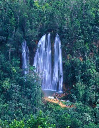Panoramic view on Salto Limon falls in rainforest of Dominican Republic