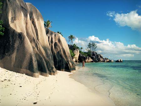 Panoramic view on old stones coastline Seychelles photo