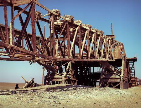 constraction: Old rusty constraction broken factory