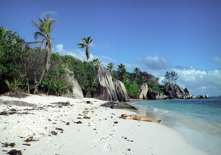 Panoramic view on old stones coastline Seychelles Stock Photo - 5285791