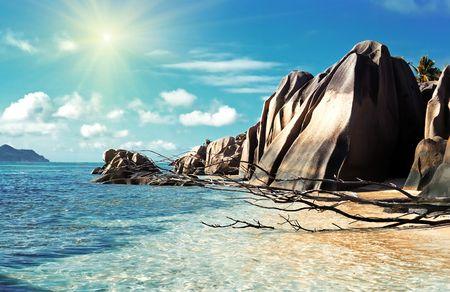 ラ掘る島ビーチ、セイシェルの全景