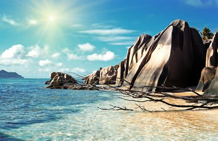 Panoramic view on La Dig island beach,Seychelles Stock Photo - 5385626
