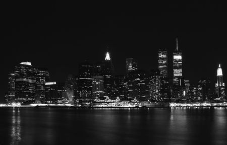 Panoramic view on night lights of New York City photo
