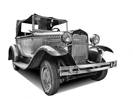 白の古典的な古い車の分離