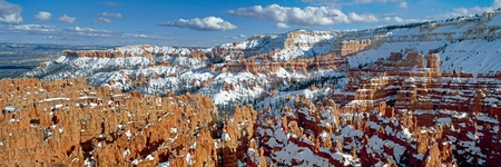 bryce: Panoramic view on Bryce canyon national park in winter sunny day