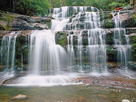 リッフィー滝上の 4 つの異なるカスケードのシリーズでは総称して、デボンポート、タスマニア州ローンセストン間デロレイン近く素晴らしいウェ