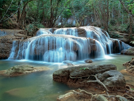 Panoramic view on famous Thailand waterfall photo