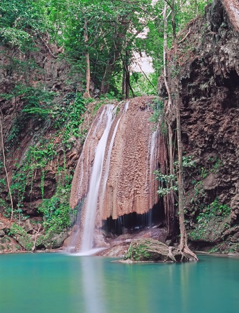 Famous Erawan falls, Province Kanchanaburi, Thailand photo