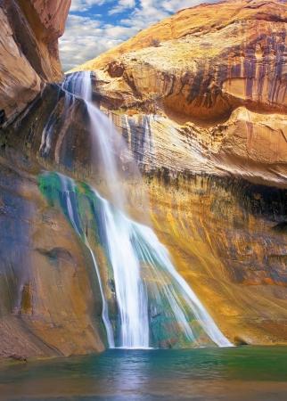 rock canyon: Lower Calf Creek Falls, Grand Staircase-Escalante National Monument, Utah; scenic waterfall in a deep Navajo sandstone canyon