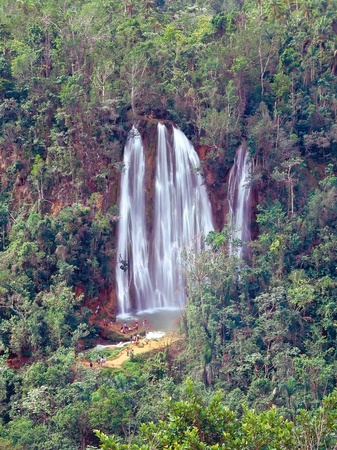 Panoramic view on Salto Limon falls in rainforest of Dominican Republic photo