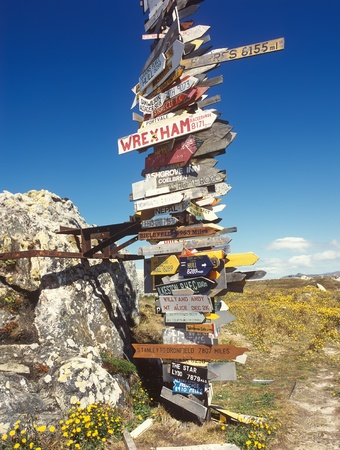 unreadable: Sign distances to many destinations around the world from Falkland island