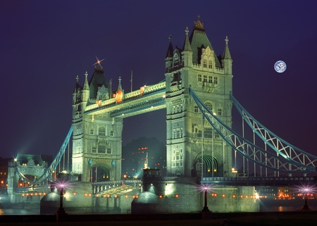Panoramic view toTower bridge in the night photo