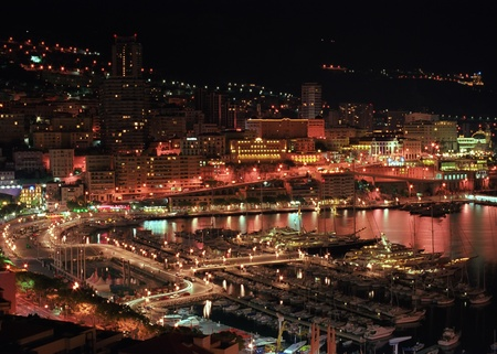 Panoramic view to Monte-Carlo night lights photo