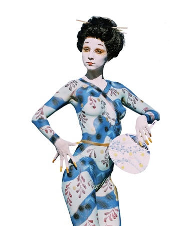 Bodypainted girl in japan style Stock Photo - 12420111