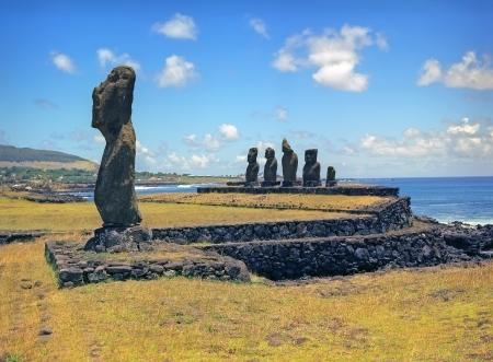 rano raraku: Moais of Ahu Akivi inland Ahu of Easter Island Chile