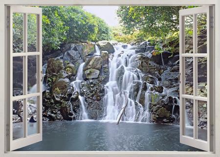 Open window view to fresh wide waterfall