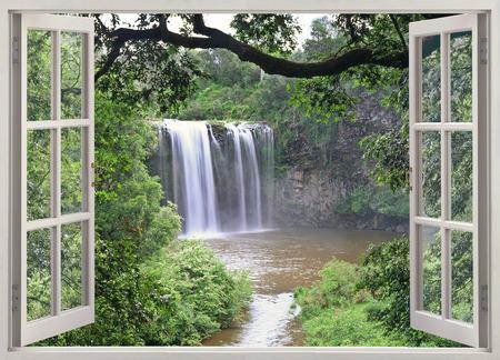 Open widow view to Dangar falls, Australia