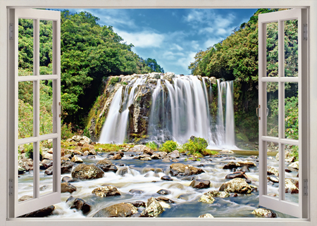 Open window panoramic view to famous huge waterfall on Reunion island