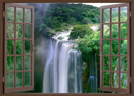 Open venster naar spectaculaire Magwa Falls in de buurt van Mbotyi Cape Province South Africa