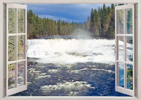 window view: Open window view to Dawson Falls, Murtle River, Wells Gray Provincial Park, British Columbia, Canada
