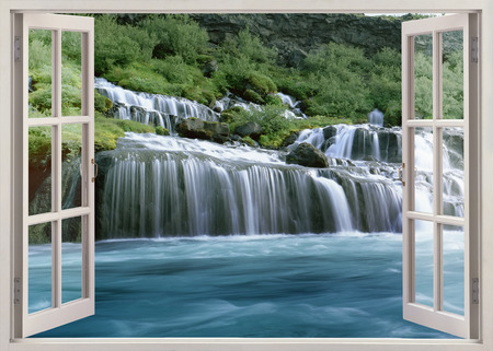 Open venster te Hraunfossar - Lava Falls