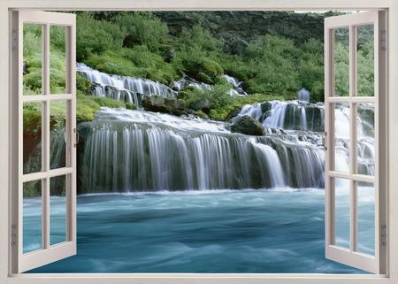 Open window view to Hraunfossar - Lava Falls