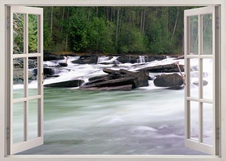 ventana abierta: ventana de vista abierta al río con piedras sstream Foto de archivo