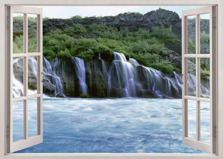 the natural phenomena: Open window view to Hraunfossar - Lava Falls - are beautiful and unusual natural phenomena. Clear, cold springs of subterranean water seep through the lava and run as tiny waterfalls and rapids into the Hvita River