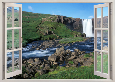 waterfall: Waterfalls view to Iceland in sunny summer day