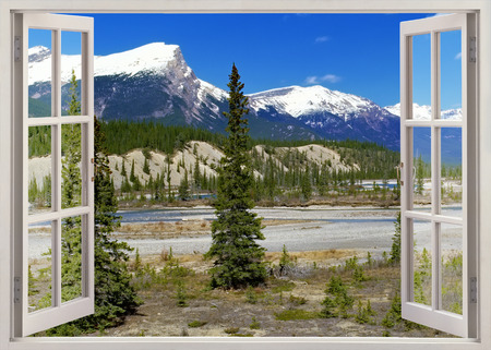 Open window panoramic view to snow peaks Rockies Mountains, Banff national park, Canada