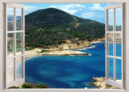 the bay: Open window view to famous Sardinia island beach in sunny summer day, Italy