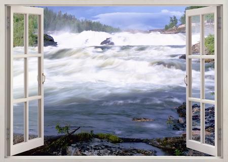 Open window view to famous Storfosen waterfall, Sweden